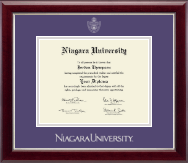 Niagara University Diploma Frame - Silver Embossed Diploma Frame in Gallery Silver
