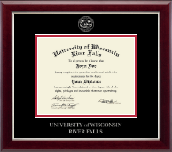 University of Wisconsin River Falls Diploma Frame - Silver Embossed Diploma Frame in Gallery Silver