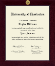 University of Charleston Diploma Frame - Century Gold Engraved Diploma Frame in Cordova