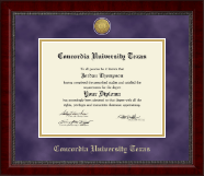 Concordia University Texas Diploma Frame - Gold Engraved Medallion Diploma Frame in Sutton