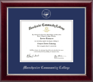 Manchester Community College Diploma Frame - Silver Embossed Diploma Frame in Gallery Silver