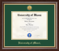 University of Miami Diploma Frame - Gold Engraved Medallion Diploma Frame in Prescott