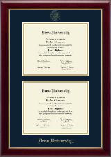Drew University Diploma Frame - Double Document Diploma Frame in Gallery