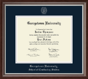 Georgetown University Diploma Frame - Silver Embossed Diploma Frame in Devonshire