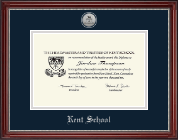 Kent School in Connecticut Diploma Frame - Silver Engraved Medallion Diploma Frame in Kensington Silver