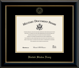 United States Navy Certificate Frame - Gold Embossed Certificate Frame in Onyx Gold