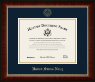 United States Navy Certificate Frame - Gold Embossed Certificate Frame in Murano