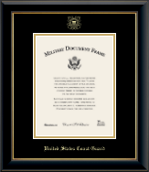 United States Coast Guard Certificate Frame - Gold Embossed Certificate Frame in Onyx Gold