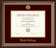 Reed College Diploma Frame - Gold Engraved Medallion Diploma Frame in Hampshire
