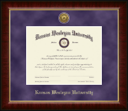 Kansas Wesleyan University Diploma Frame - Gold Engraved Medallion Diploma Frame in Murano