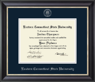 Eastern Connecticut State University Diploma Frame - Silver Embossed Diploma Frame in Noir