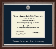Eastern Connecticut State University Diploma Frame - Silver Engraved Medallion Diploma Frame in Devonshire