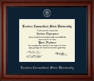 Eastern Connecticut State University Diploma Frame - Silver Embossed Diploma Frame in Cambridge