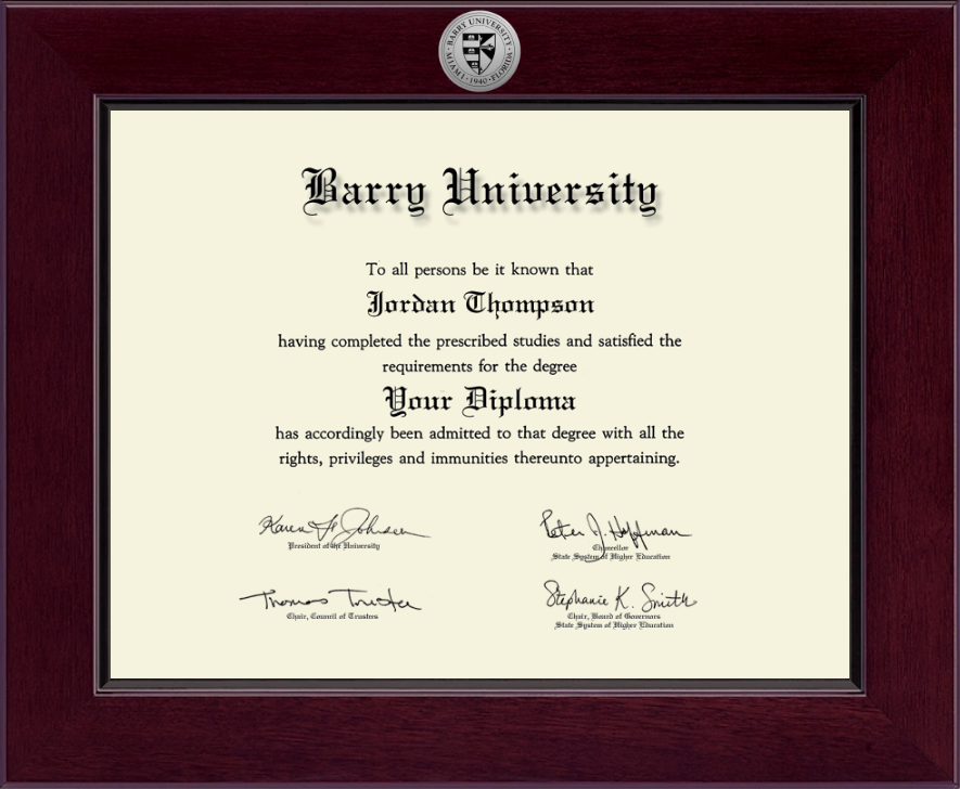 Barry University Century Silver Engraved Diploma Frame In