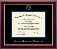 Western Washington University Diploma Frame - Silver Embossed Diploma Frame in Gallery Silver