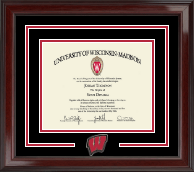 University of Wisconsin Madison Diploma Frame - Spirit Motion W Medallion Diploma Frame in Encore