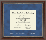 Globe Institute of Technology Diploma Frame - Silver Embossed Diploma Frame in Chateau