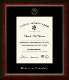 United States Marine Corps Certificate Frame - Gold Embossed Certificate Frame in Murano