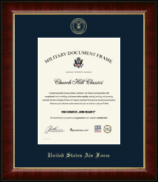 United States Air Force Certificate Frame - Gold Embossed Certificate Frame in Murano