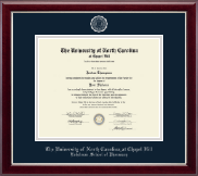 University of North Carolina Eshelman School of Pharmacy Diploma Frame - Silver Embossed Diploma Frame in Gallery Silver