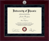 University of Phoenix Diploma Frame - Millennium Silver Engraved Diploma Frame in Cordova