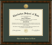 Charleston School of Law Diploma Frame - Gold Engraved Medallion Diploma Frame in Brentwood