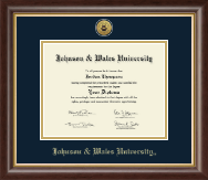 Johnson & Wales University in Rhode Island Diploma Frame - Gold Engraved Medallion Diploma Frame in Hampshire
