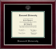 Roosevelt University Diploma Frame - Silver Embossed Diploma Frame in Gallery Silver
