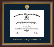International Distinguished Scholars Honor Society Certificate Frame - Gold Engraved Medallion Certificate Frame in Hampshire