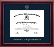 International Distinguished Scholars Honor Society Certificate Frame - Gold Embossed Certificate Frame in Gallery