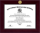 International Distinguished Scholars Honor Society Certificate Frame - Century Gold Engraved Certificate Frame in Cordova