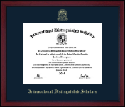 International Distinguished Scholars Honor Society Certificate Frame - Gold Embossed Achievement Edition Certificate Frame in Academy