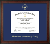 Manchester Community College Diploma Frame - Gold Embossed Diploma Frame in Studio