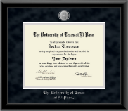 University of Texas at El Paso Diploma Frame - Silver Medallion Diploma Frame in Onyx Silver