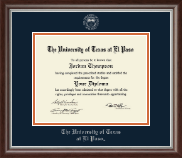 University of Texas at El Paso Diploma Frame - Silver Embossed Diploma Frame in Devonshire