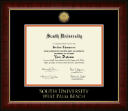 South University, West Palm Beach Diploma Frame - Gold Engraved Medallion Diploma Frame in Murano