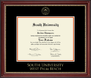 South University, West Palm Beach Diploma Frame - Gold Embossed Diploma Frame in Kensington Gold