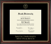 South University, West Palm Beach Diploma Frame - Gold Embossed Diploma Frame in Studio Gold
