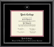 York College in New York Diploma Frame - Silver Embossed Diploma Frame in Onyx Silver