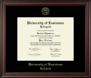 University of Louisiana Lafayette Diploma Frame - Gold Embossed Diploma Frame in Studio