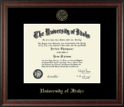 University of Idaho Diploma Frame - Gold Embossed Diploma Frame in Studio