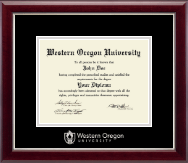Western Oregon University Diploma Frame - Silver Embossed Diploma Frame in Gallery Silver