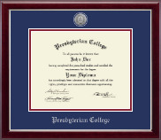 Presbyterian College Diploma Frame - Silver Engraved Medallion Diploma Frame in Gallery Silver
