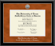 University of Texas Health Science Center at Houston Diploma Frame - Silver Engraved Medallion Diploma Frame in Onyx Silver