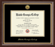 Middle Georgia College Diploma Frame - Gold Engraved Medallion Diploma Frame in Hampshire