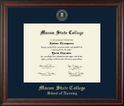 Macon State College Diploma Frame - Gold Embossed Diploma Frame in Studio