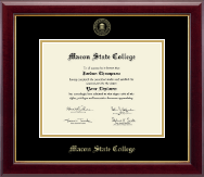 Macon State College Diploma Frame - Gold Embossed Diploma Frame in Gallery