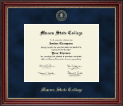 Macon State College Diploma Frame - Gold Embossed Diploma Frame in Kensington Gold