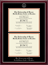 University of Texas Health Science Center at Houston Diploma Frame - Double Document Diploma Frame in Gallery Silver