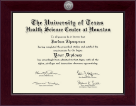 University of Texas Health Science Center at Houston Diploma Frame - Century Silver Engraved Diploma Frame in Cordova